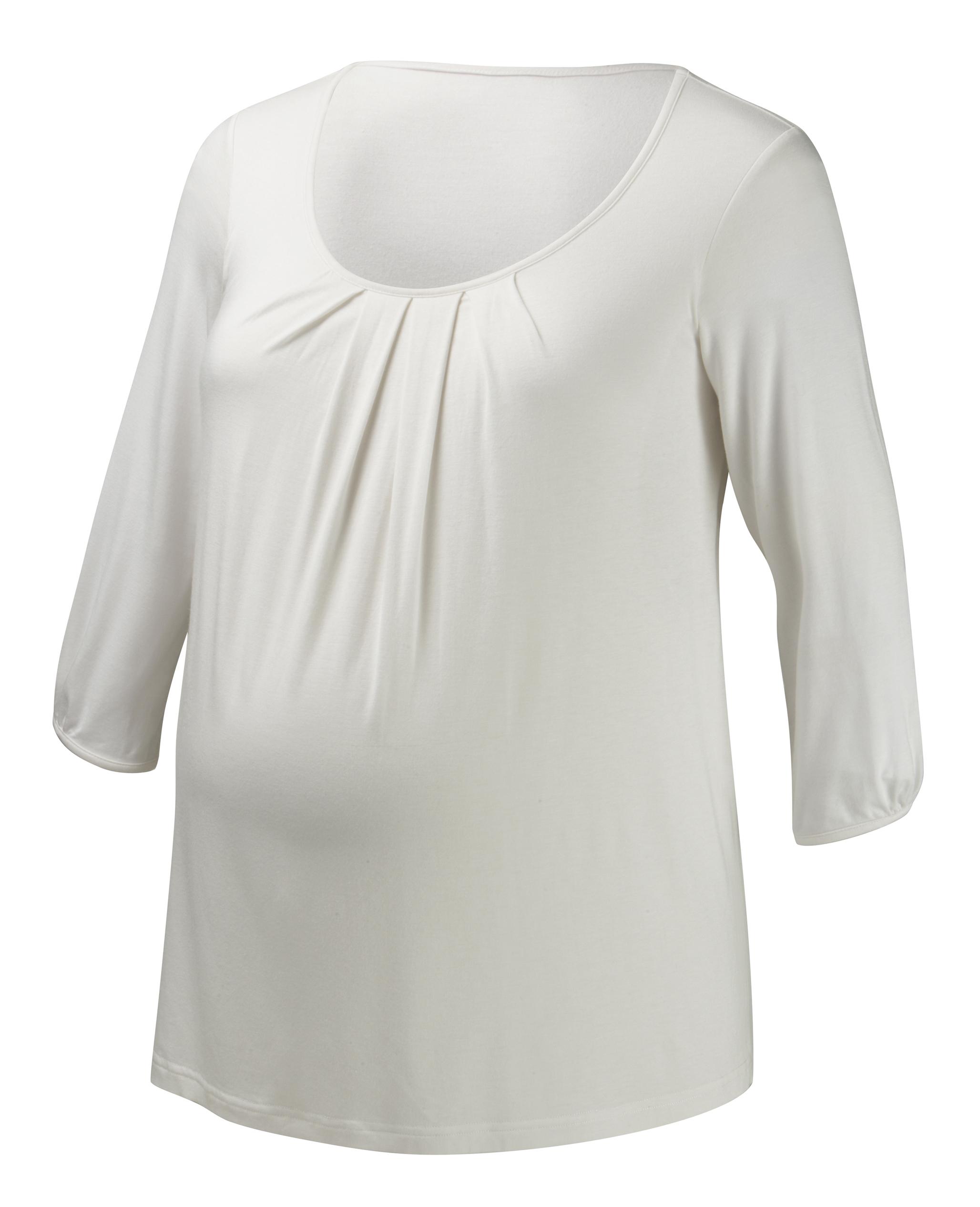 012-JT25-03 | cloud 9 ¾ sleeve nursing top | ivory