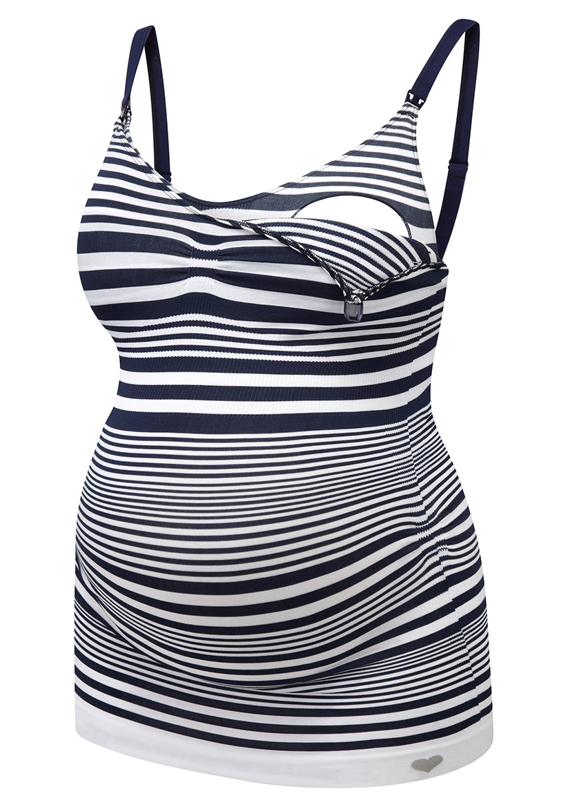 027-C1-34 | seamless nursing cami open | navy stripe